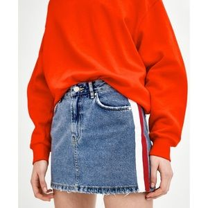 ZARA Mid Rise Side Stripe Denim Mini Skirt